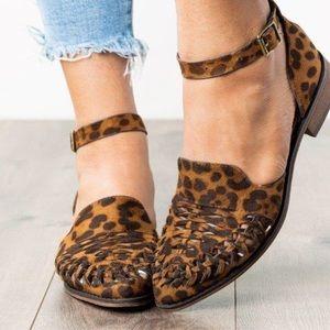 Vegan Suede Woven Retro Leopard Flat Sandals